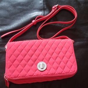 Vera Bradley turn lock cross body purse fire red